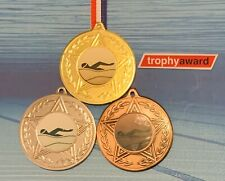 Swimming Medals Gold/Silver/Bronze with Ribbon