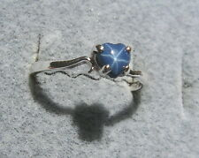 5 MM HEART LINDE LINDY CORNFLOWER BLUE STAR SAPPHIRE CREATED SECOND RING .925 SS