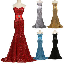 RED Black Sequins Formal Evening Long Mermaid Prom Gown Party Wedding Dress 2~16