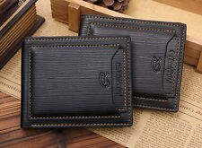 New Luxury Black Mens Cow Leather Bifold Wallet Credit/ID Card Holder Slim Purse