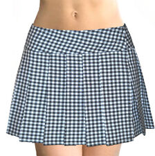 "BLACK & WHITE CHECKERED SCHOOLGIRL PLAID TARTAN PLEATED MINI SKIRT(Beaumont 13"")"