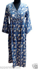 Indian Cotton Block Printed Long Quilted Dress Kimono Style Partywear Women Dres