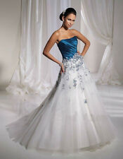 STRAPLESS SATIN & TULLE LACED BODICE A LINE WEDDING DRESS SIZES 4 6 8 10 12