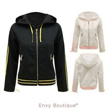 NEW WOMENS LADIES STYLISH CASUAL CROPPED HOODIE ZIP UP BOMBER BIKER JACKET COAT