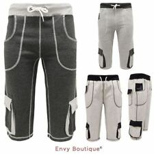 MENS COTTON FLEECE CASUAL 3/4 TROUSER CARGO POCKETS JOGGING BOTTOM PANTS SHORTS