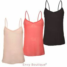 Womens Ladies Summer Chiffon Strappy Vest Top Tank Casual Shirt Blouse