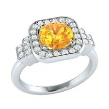 1.05 ct Natural Citrine & Certified Diamond Solid Gold wedding Engagement Ring
