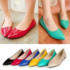 Hot 6 Colors Womens Girls Pointed Toe Slip On Loafer Ballet Flat Shoes Plus Size