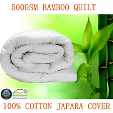 500GSM All Season 100% Bamboo Quilt Doona Cotton Cover Machine Washable