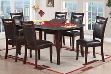Contemporary Dining Furniture Dark Brown Faux Dining Chair Framed Wood Finished