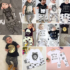 2PCS Newborn Toddler Baby Boys Girls T-shirt Pants Outfit Sport Tracksuit 0-24 M