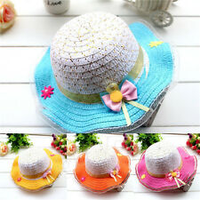 New Cute Baby Kids Hat Bowknot Summer Sun Straw Hat Large Brimmed Beach Caps 160