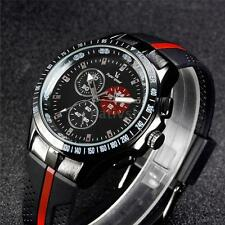V6 Military Style Quartz Analog Wristwatch Mens Watch Silicone Band Watches K6D0
