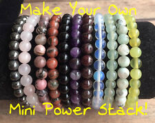 Gemstone Stacking Bracelet. Power Stack. 6mm Beaded Bracelet. Yoga Chakra Yogi