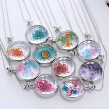 Wholesale Dried Flower Pendant Necklace Long Chain Round Glass Living Memory
