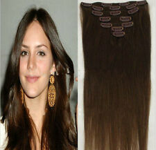 "#4 Brown 15"" 18"" 20"" Clip In Remy Real Human Hair Extension Straight 7PCS 70G"