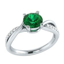 0.70 ct Natural Emerald & Certified Diamond Solid Gold Wedding Engagement Ring