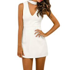Women Mock Neck Cut Out Front Sleeveless Sheath Dress