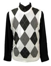 New Mens 100% Acrylic Regal Wear Casual Argyle Sweater Vest White/Charcoal M-2XL