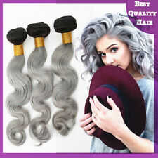 100g Granny Gray Ombre Remy Brazilian Human Hair Extensions Body Wave Hair Weave
