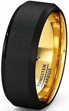 Mens Wedding Band Two Tone Black Gold Tungsten Ring Brushed Beveled Edge 8mm