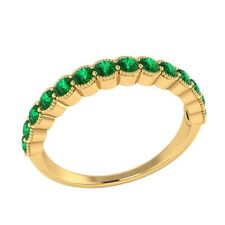 0.60 ct Natural Round Green Emerald White Gold Half Eternity Wedding Band Ring