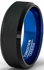 Mens Wedding Band Two Tone Black Tungsten Ring 8mm Blue Brushed Beveled Edge