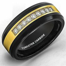 Mens Wedding Band Black Tungsten Ring Gold Inlay with CZ Comfort Fit