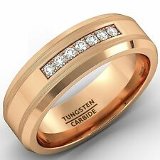 8mm Rose Gold Tungsten Carbide Ring with Brilliant CZ Mens Wedding Band