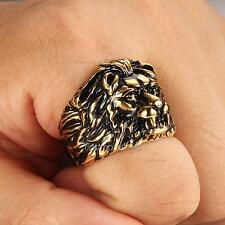 New Fashion Mens Jewelry 316L Stainless Steel Punk Lion King Golden Men Ring
