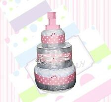 Silver, Pink, and White Polka Dots Girl Diaper Cake Gift