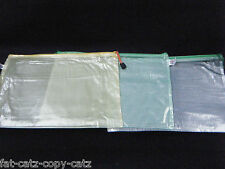 1x PASTEL PLASTIC ZIPPY BAGS A4 SIZE FILE STORAGE DOCUMENT ART SCHOOL FOLDER UK