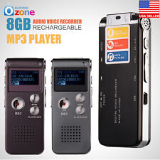 NEW 8GB Digital Audio Voice Recorder Rechargeable Dictaphone Telephone MP3Player