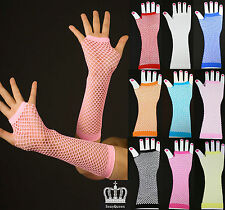 1 PAIR SEXY 80'S Fancy Dress Fishnet Neon Fingerless Gloves Dance Costume -Long