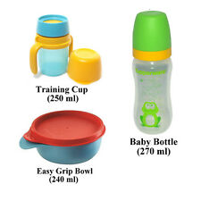 NEW Tupperware Baby Set Bottle 270ml Training Cup 250ml Easy Grip Bowl 240ml