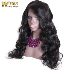 Women Full Lace Wig Virgin Indian Black Human Hair Natural Wave Lace Front Wigs