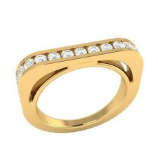 0.60 ct Real Round White Topaz Yellow Gold Half Eternity Wedding Band Ring