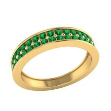 0.55 ct Natural Round Green Emerald Solid Gold Half Eternity Wedding Band Ring