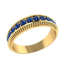 0.50 ct Natural Round Blue Sapphire Yellow Gold Half Eternity Wedding Band Ring