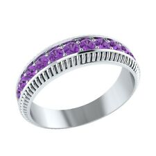 0.50 ct Natural Purple Amethyst Solid Gold Half Eternity Wedding Band Ring