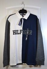 NWT MEN'S TOMMY HILFIGER WHITE BLUE RUGBY POLO LONG SLEEVE CASUAL SHIRT SIZE L