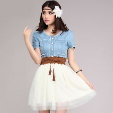 Womens Stylish New Denim Jean Tops Ladies Tunic Party Dress Skirt With Belt