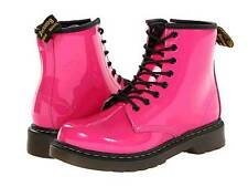 Dr. Doc Martens Girls Delaney Patent Leather Boots in Gorgeous HOT PINK Color!