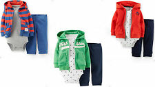 Carter's Baby Boys 3~Piece Cotton Bodysuit Hoodie & Pant Set NB, 3, 6 Months NWT