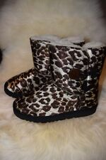 Leopard Print Brown Ugg Boots one button Wool Blend