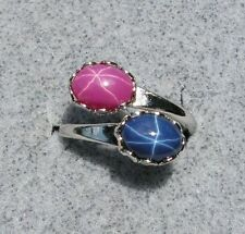 LINDE LINDY PINK STAR RUBY CREATED SAPPHIRE STAR BLUE 2NDS RING NPM