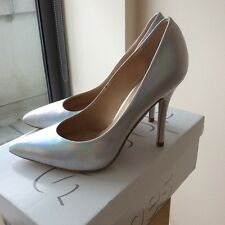 Brand new in box Topshop Gwenda silver iridescent leather court shoes size 4
