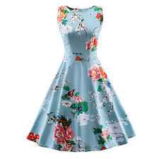 Womens Sleeveless Bodycon Robe Cocktail Party Tunic Prom Vintage Floral Dress