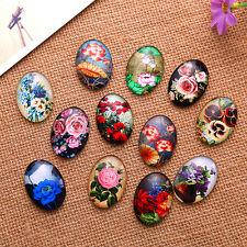 Oval Mixed Flowers Pattern Glass Cabochon Dome Seals DIY Crafts Making Findings
