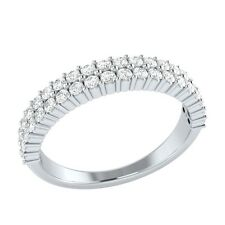 0.60ct Natural Round White Topaz Solid White Gold Half Eternity Wedding Ring